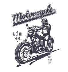 vintage moto fest logotype template vector image vector image