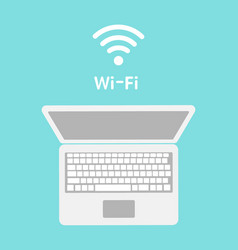 Wi-fi icon on laptop screen wireless technology vector