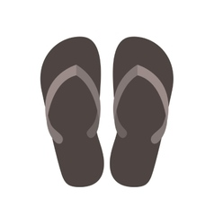 Silhouette beach flip-flops with brown bottom vector