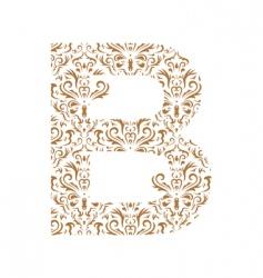 Floral letter b ornament font vector