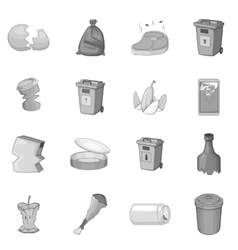 Garbage items icons set monochrome style vector