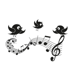 Musical notes with birds vector image