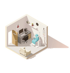 Isometric low poly ophthalmologist office vector