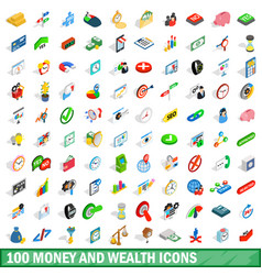 100 money wealth icons set isometric 3d style vector