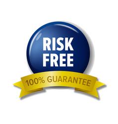 blue circle label risk free - 100 guarantee vector image