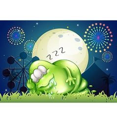 A fat monster sleeping at the carnival in the vector image