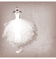 Wedding dress on grungy background vector