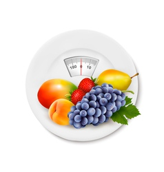 Fruit on the weight scale diet concept vector
