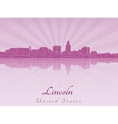 Lincoln skyline in radiant orchid vector