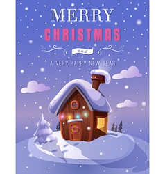 Christmas greeting card with a small cottage in vector