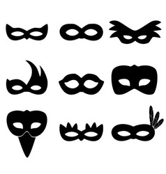 Carnival rio black masks simple icons set eps10 vector