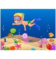 Little boy diving in the ocean vector