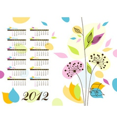 Abstract floral calendar 2012 vector