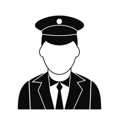 Train conductor black simple icon vector