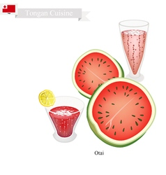 Red watermelon otai or tongan waterm drink vector