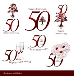 Anniversary 50th signs collection vector image
