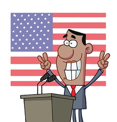 Barack obama flashes victory signs from podium vector