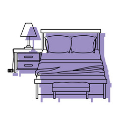 bedroom with lamp over nightstand purple vector image vector image