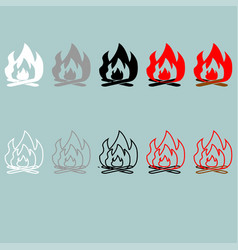 Bonfire white grey black red grey icon vector
