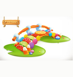 Bridge of candies sweet land fruit candy 3d icon vector