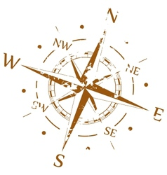 Brown grunge compass vector image vector image