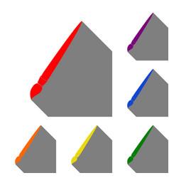 brush sign set of red orange vector image
