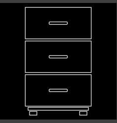 Cabinet white color path icon vector