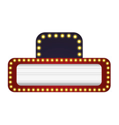 Cinema signboard with light bulbs around vector