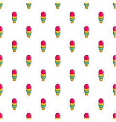 Colorful ice cream in waffle cup pattern vector