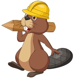 Cute cartoon beaver wearing safety hat and holding vector