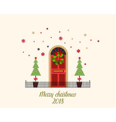 Decorated christmas door with snow vector