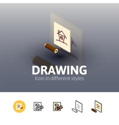 Drawing icon in different style vector