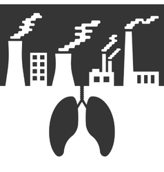 Environmental issues with lungs and air pollution vector