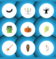 Flat icon halloween set of terrible halloween vector