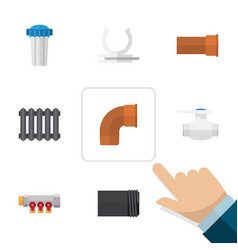 Flat icon industry set of cast tube conduit and vector