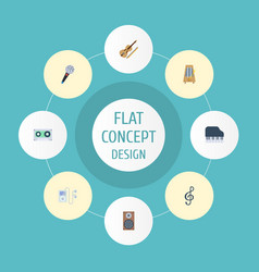 Flat icons rhythm motion mp3 player tape and vector