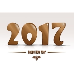 Happy new year 2017 gold lettering on a white vector
