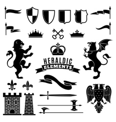Heraldic elements black white set vector