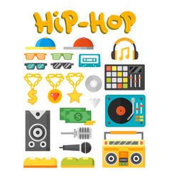 Hip hop accessory musician with microphone vector
