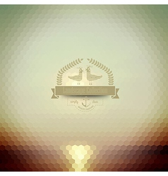 Hipster badge sunset on the sea retro label design vector