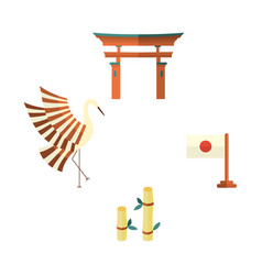 japanese flag bamboo crane and torii gate icons vector image vector image
