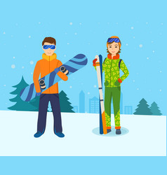 Man with snowboard and girl skis on mountain vector