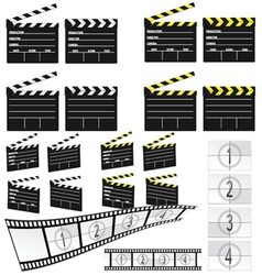 Movie clapper white and yellow and film vector
