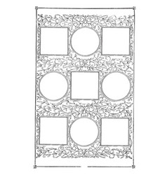 Nine part frame have circular and square boxes in vector