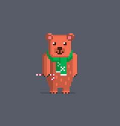 pixel art cute bear vector image vector image
