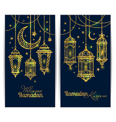 Ramadan kareem islamic background lamps for vector