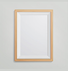 Realistic photo frame 3d empty wood blank vector