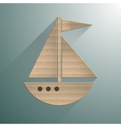 Sailing yacht flat square icon with long shadows vector image