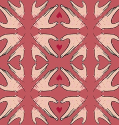 Seamless pattern of hand in heart shape vector image vector image