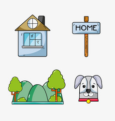 Set icons of home park and dog vector